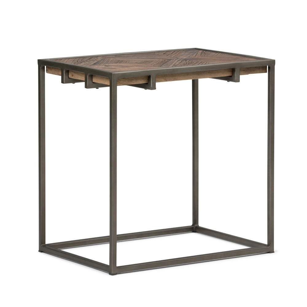 "Image of ""14"""" Abigail Solid Aged Elm Wood Narrow End Table Distressed Java Brown Wood Inlay - Wyndenhall"""
