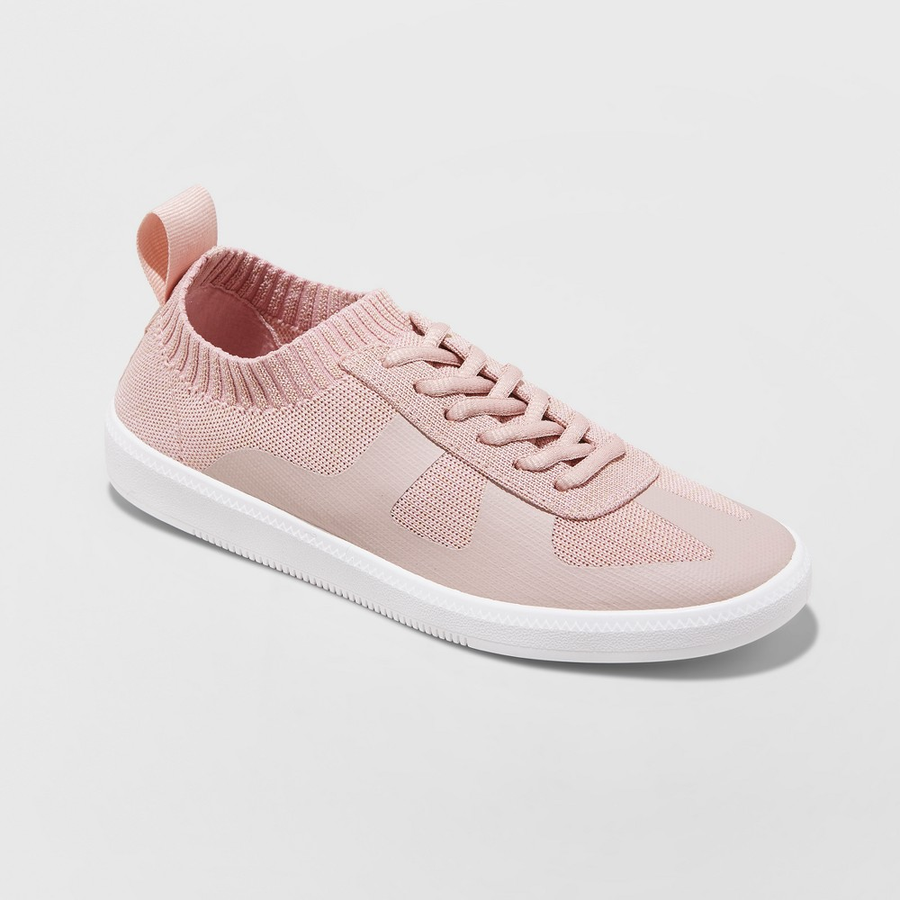 Women's Mad Love Jaycie Sneakers Lace up Knit - Pink 6