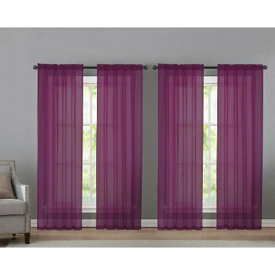 Kate Aurora 4 Pack Basic Home Rod Pocket Sheer Voile Window Curtains