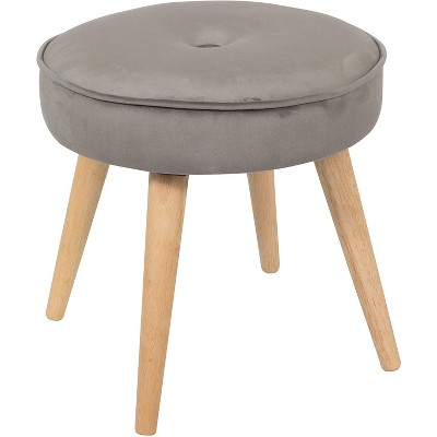 Living Essentials Alannah Stylish Upholstered Cushioned Velvet Fabric 15.75 Inch Round Footrest Ottoman Stool Seat with Pine Wood Legs, Gray