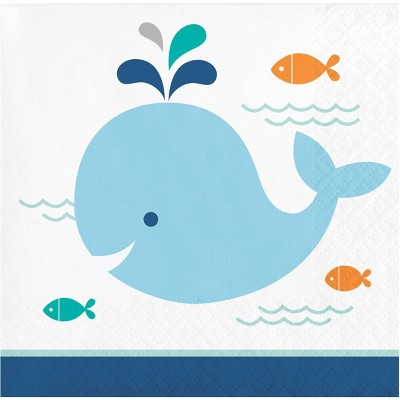 48ct Baby Whale Beverage Napkins Blue