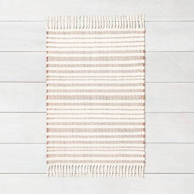 2'x3' Stripe with Fringe Area Rug Rusty Red - Hearth & Hand™ with Magnolia