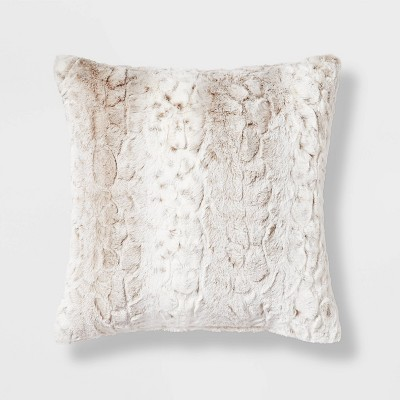 Snow Leopard Ombre Faux Fur Square Throw Pillow Neutral - Threshold™