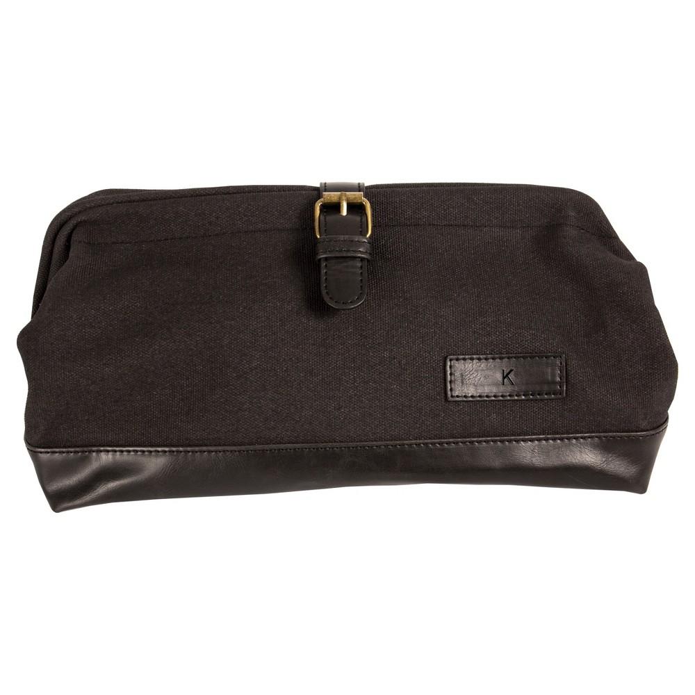 Monogram Groomsmen Gift Travel Dopp Kit Toiletry Bag - K, Black