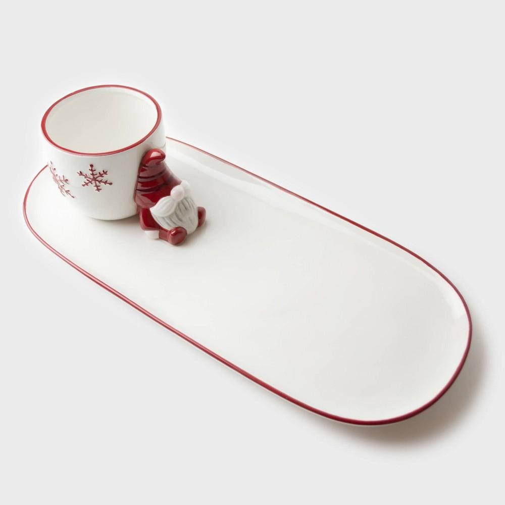 12 34 X 6 34 Ceramic Gnome Platter And Dip Jar Peppermint 38 Pine