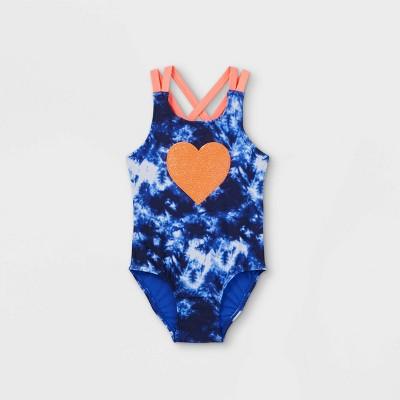 Toddler Girls' Tie-Dye Sequin Heart One Piece Swimsuit - Cat & Jack™ Blue/Pink