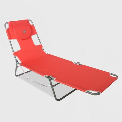 Beach Lounger with Carrying Strap - Red - Ostrich