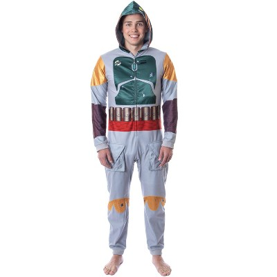 Star Wars Mens' Boba Fett Hooded Costume Union Suit One-Piece Pajama