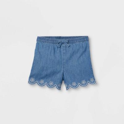 OshKosh B'gosh Toddler Girls' Chambray Eyelet Pull-On Shorts - Blue
