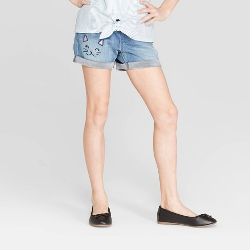 Girls' Pull-On Cat Cuffed Jean Shorts - Cat & Jack™ Light Wash - image 1 of 3