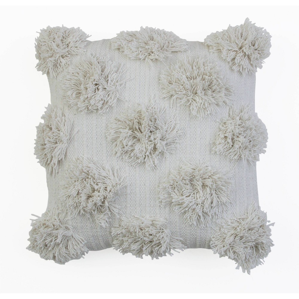 "Image of ""18""""X18"""" Barrio Shaggy Dots Fringe Pillow Ivory - Decor Therapy"""