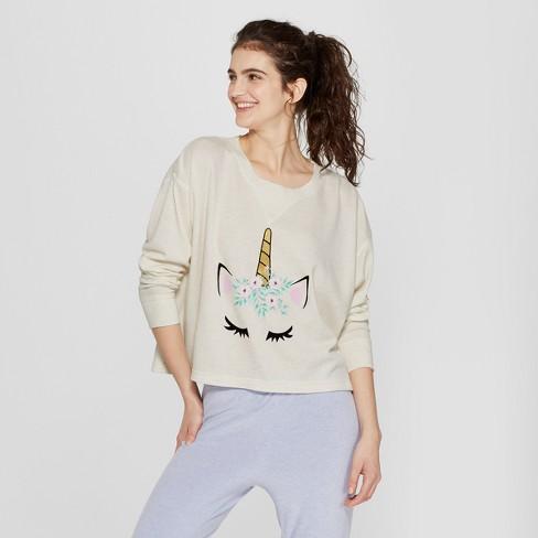 Snooze Button Women s Unicorn Sleep T-Shirt - Oatmeal   Target 7aec733c2