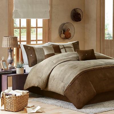 Powell Colorblock Comforter Set (King)Brown - 7 Piece