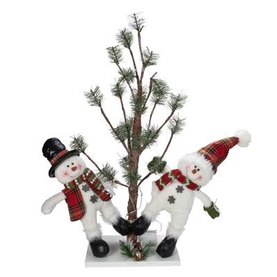 "Northlight 34"" Snowmen Friends With Pre-Lit LED Pine Tree Christmas Tabletop Decor"