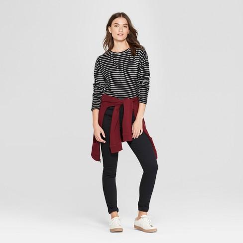 378153ad5cc1 Women s Striped Drop Shoulder Long Sleeve T-Shirt - Universal Thread™ Black White    Target