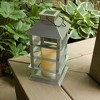 Solar Powered Lantern with LED Candle Silver - LumaBase - image 4 of 4