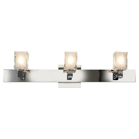 Glass 3-Light Bath with Rectangular Frosted/Clear Glass Shade - Chrome - image 1 of 1