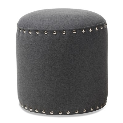 Rosine Modern and Contemporary Fabric Upholstered Nail Trim Ottoman - Baxton Studio