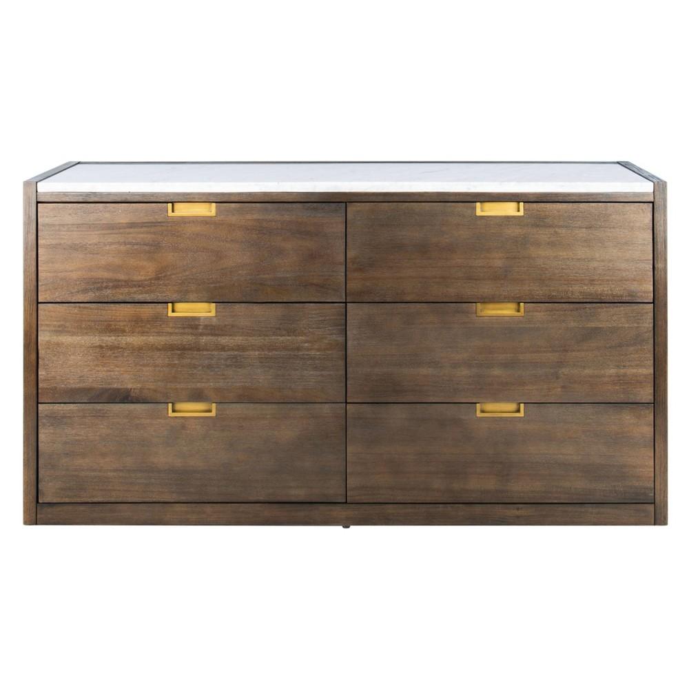 Image of Adeline 6 Drawer Dresser Dark Chocolate - Safavieh