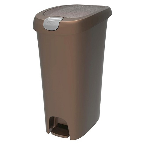 Hefty 11.3 Gallon Slim Step On Trash Can with Easy Open Lid, Bronze