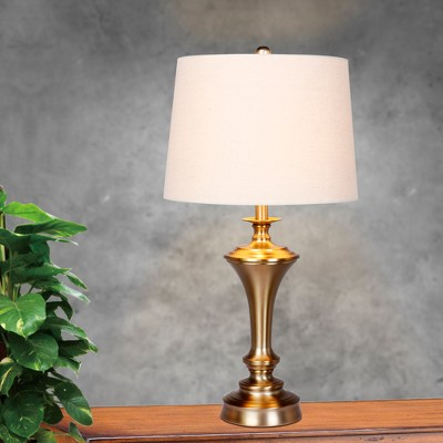 Pedestal Base Metal Table Lamps In Plated Antique Gold (Lamp Only)   Fangio  Lighting