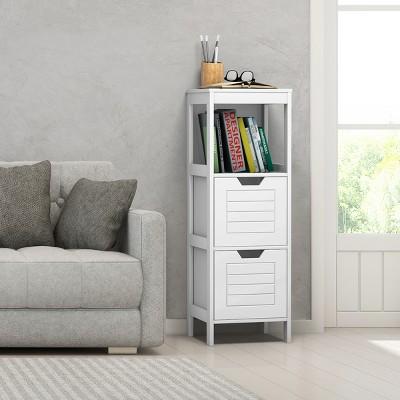 Costway Bathroom Wooden Floor Cabinet Multifunction Storage Rack Stand Organizer Bedroom