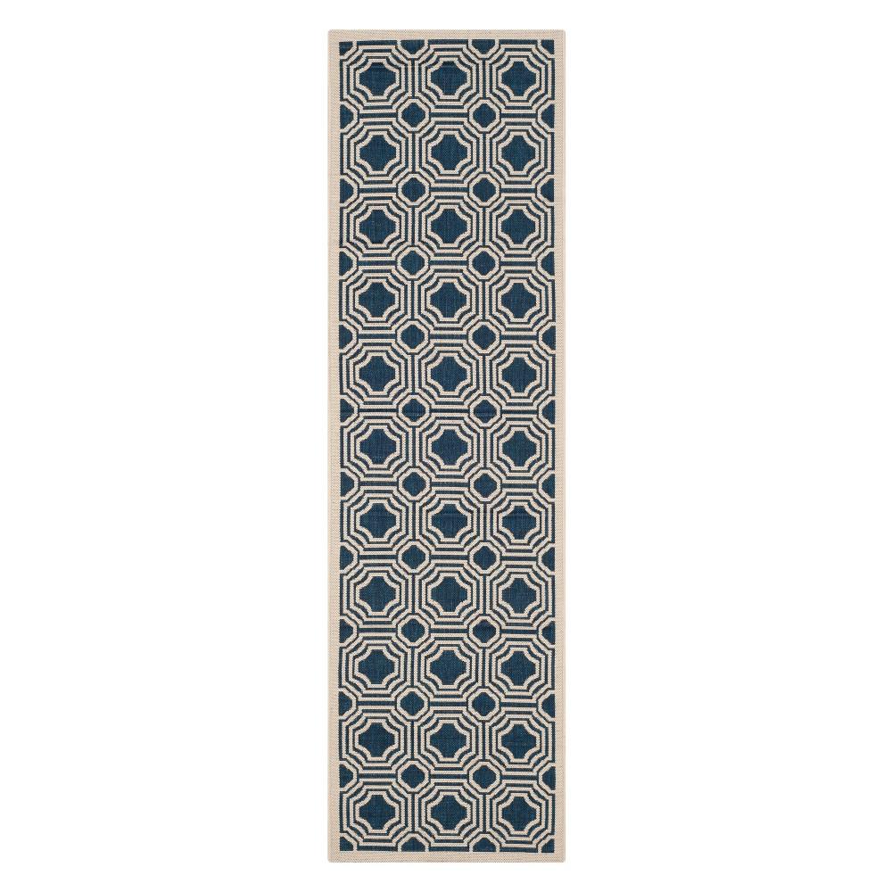 Hamina Rectangle 2'3x8' Outdoor Patio Rug - Navy/Beige - Safavieh, Blue