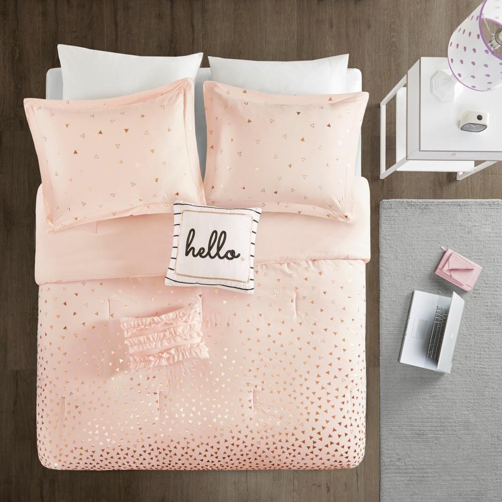 5pc Full Queen Nova Metallic Comforter Set Blush Rosegold