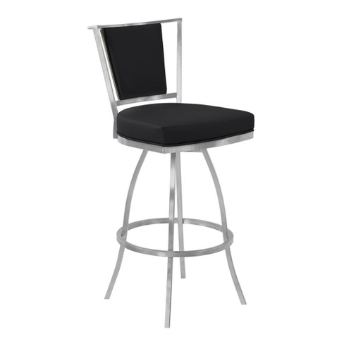 "30"" Delhi Bar Height Metal Swivel Barstool in Black Faux Leather with Brushed Stainless Steel Finish and Gray Walnut Back - Armen Living - image 1 of 7"