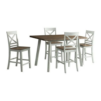 5pc Bedford Counter Height Dining Set and 4 Chairs Brown/Cream - Picket House Furnishings