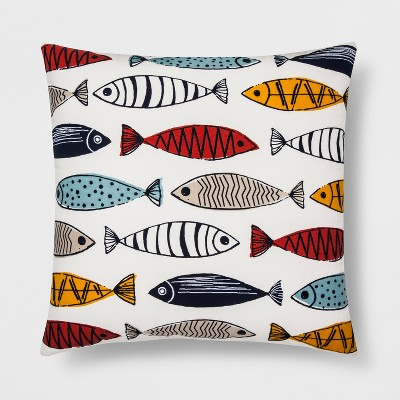 Fish Pattern Square Throw Pillow