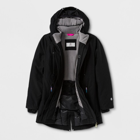 Girls  Parka Jacket - C9 Champion® Black   Target 0e307dd2f508
