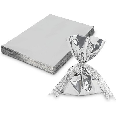 Sparkle and Bash 100-Pack Metallic Silver Party Favors Gift Bags Small Gift Bags for Birthday, 6 x 8 In