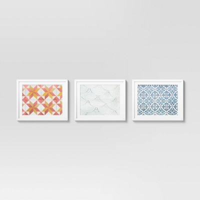 """Set of 3 16"""" x 20"""" Floor Tile with Shoes Framed Under Glass with Mat - Opalhouse™"""