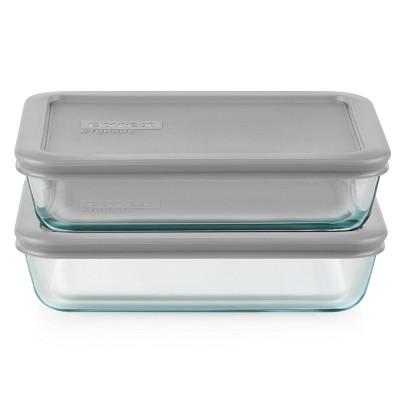 Pyrex 3 Cup 2pk Rectangular Food Storage Container Set - Gray