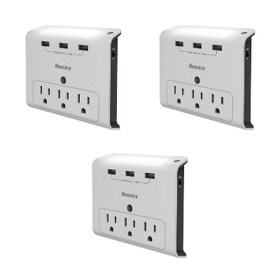 Huntkey 3 x SMD307 High Efficiency Wall Mount Outlet with Three 2.1 Amp USB Ports and Standard American Outlets, Cradle Ledge, White (2 Pack)