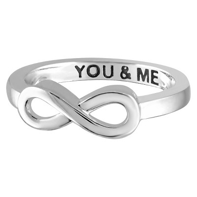 "Women's Sterling Silver Elegantly Engraved Infinity Ring with ""YOU & ME"""