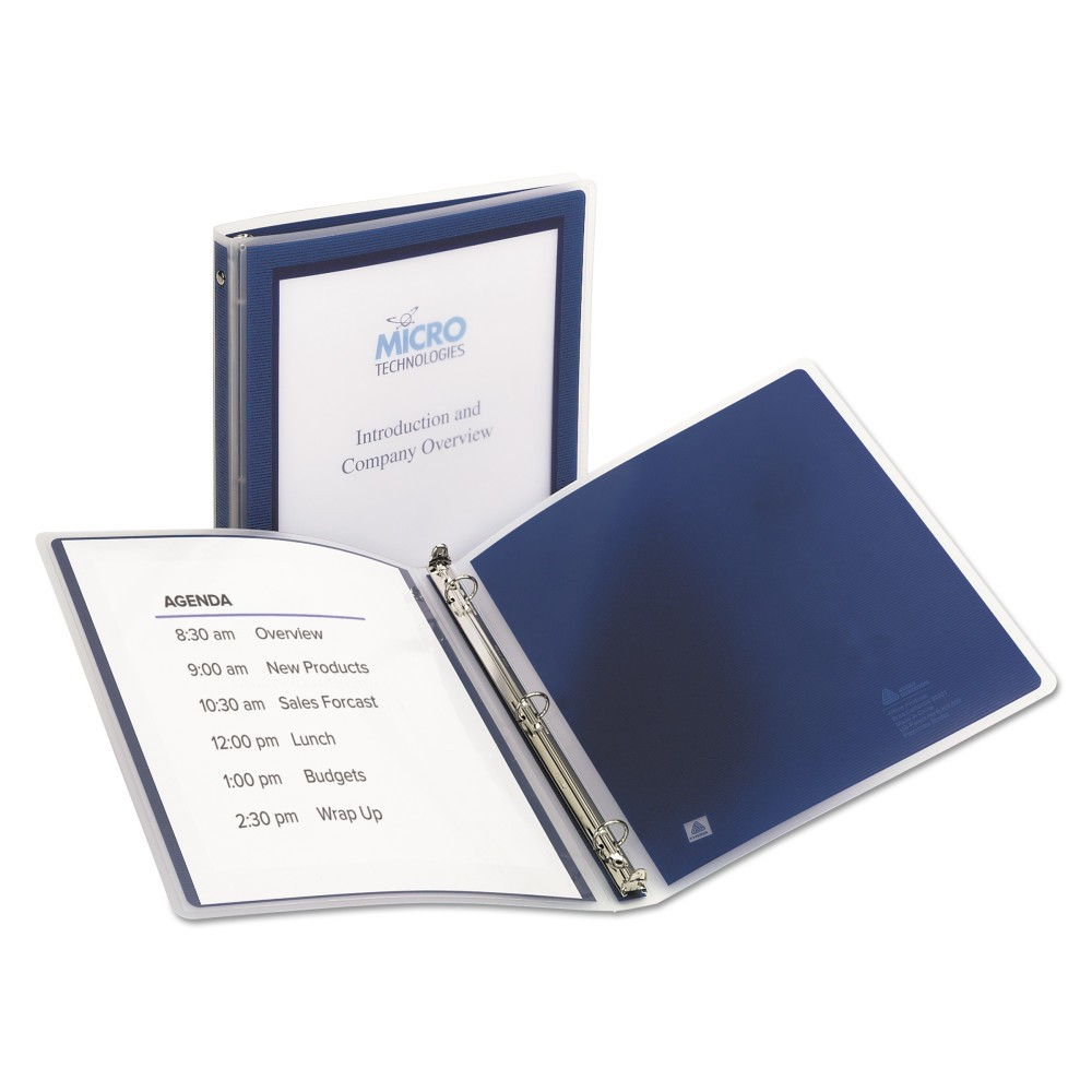 Avery Flexi-View Binder with Round Rings, 11 x 8 1/2, 1/2 Cap, Navy Blue