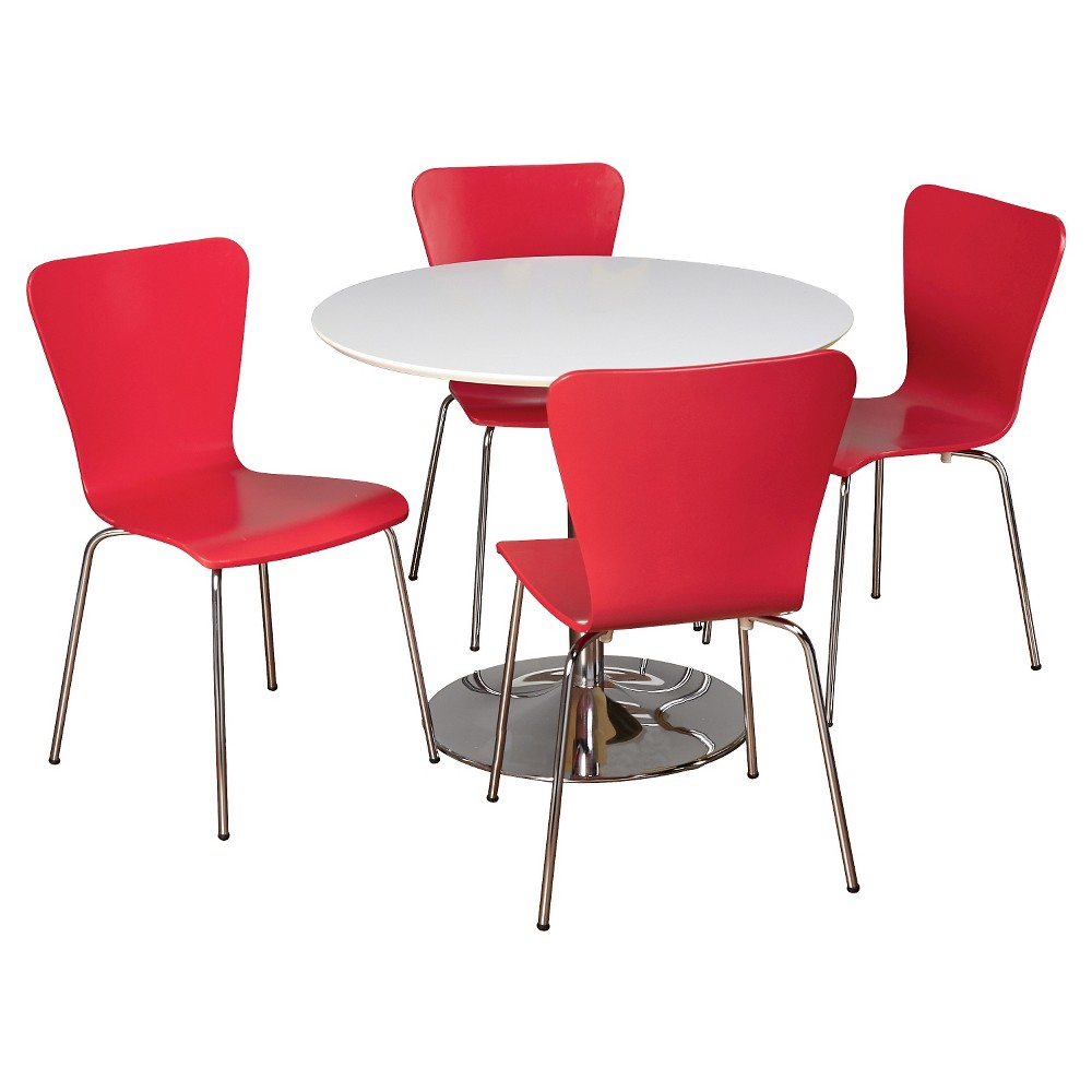 Hillsboro Dining Set White/Red 5 Piece - Tms