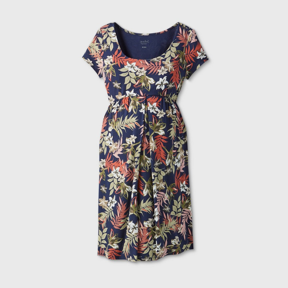 Maternity Printed Short Sleeve A-Line T-Shirt Dress - Isabel Maternity by Ingrid & Isabel Navy S, Blue was $24.99 now $10.0 (60.0% off)