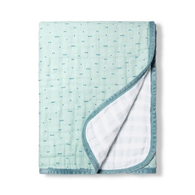 Muslin Quilt Blanket Aqua Dots - Cloud Island™ Blue