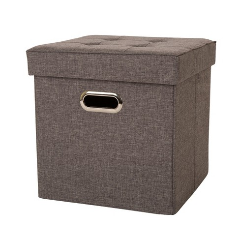 Tufted Linen Cube Foldable Storage Ottomans - Gray - Glitzhome - image 1 of 4