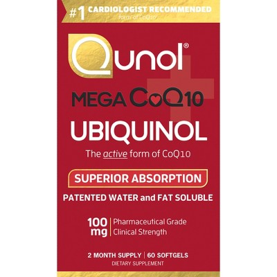 Qunol Mega CoQ10 Natural Ubiquinol Dietary Supplement Softgels - 60ct