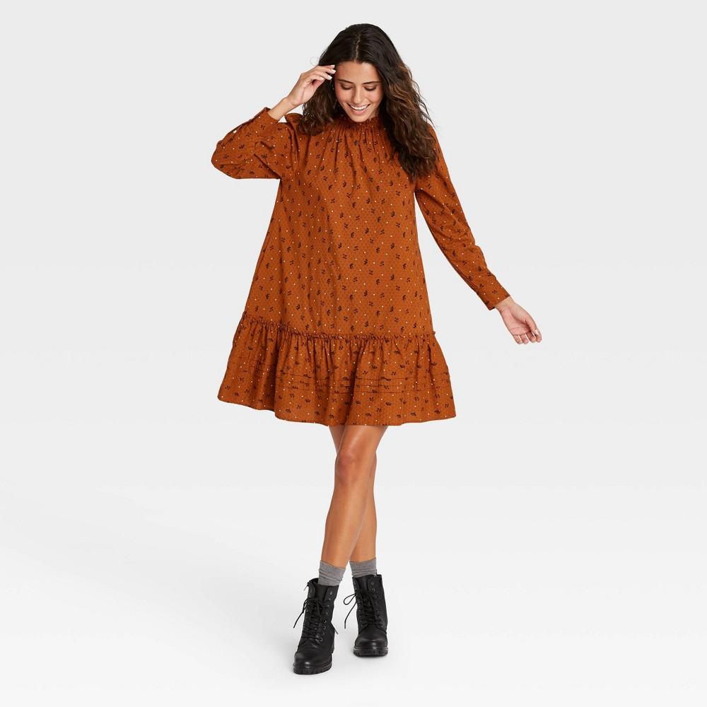 Women 39 S Floral Print Puff Long Sleeve Ruffle Dress Universal Thread 8482 Brown L