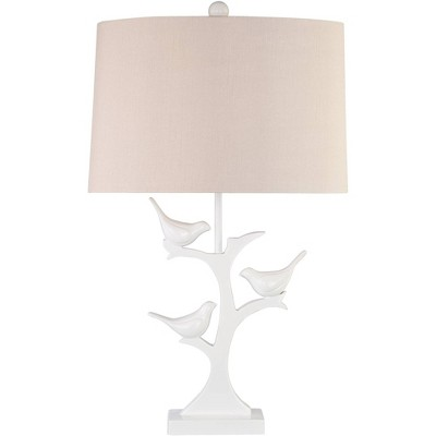 360 Lighting Country Cottage Table Lamp Trio White Bird Oatmeal Oval Shade Living Room Bedroom Bedside Nightstand Office Family