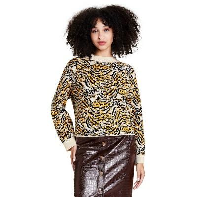 Women's Animal Print Crewneck Pullover Sweater - Rachel Comey x Target Cream
