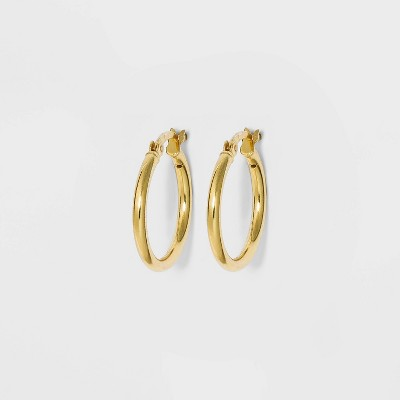 Sterling Silver Round Thin Hoop Earrings - A New Day™ Gold