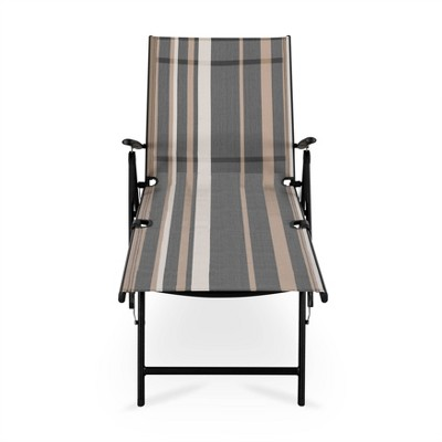 Textilene Single Patio Chaise Striped - NUU GARDEN