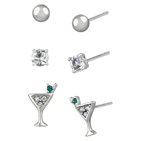 bc9cef9da50c Women's Studs Earrings Sterling Silver Three Pairs Ball Stud & Martini  Glass - Silver/Clear/Green