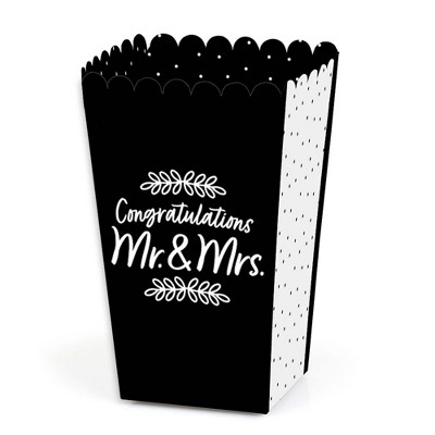 Big Dot of Happiness Mr. and Mrs. - Black and White Wedding or Bridal Shower Favor Popcorn Treat Boxes - Set of 12